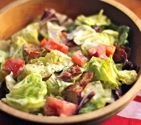 Bacon, lettuce and tomato salad, with creamy basil dressing.