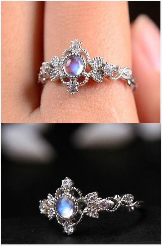 gorgeous antique art deco blue moonstone promise ring