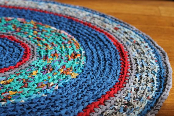 ***Made to order, please check my shop announcement for the completion time, it might vary from 2-6 weeks.**** This rug is hand crocheted from up-cycled materials (t-shirt and fabric yarn). I make the yarn myself using reclaimed new and gently used t-shirts and other textiles from local