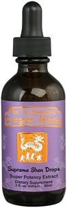 Dragon Herbs Supreme Shen Drops  Supreme Shen Drops contains an extraordinary range of Shen tonic herbs, including Wild Asparagus Root, Longan, Albizzia Flower, Spirit Poria, Wild Reishi, Tibetan Rhodiola, Polygala, American Red Ginseng, and Guilin Sweetfruit. These herbs have the power to calm the mind, stabilize the emotions and lift the spirit.