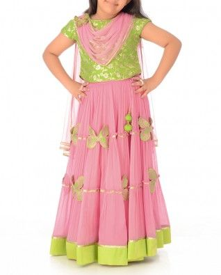 Soft Pink Lengha Set with Butterfly Motif