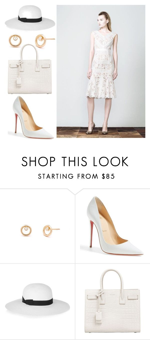 """Summer white look"" by soniahthelabel on Polyvore featuring Christian Louboutin, Iris & Ink and Yves Saint Laurent"