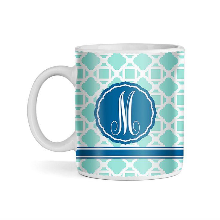Tile Mediterranean and Chevron Pattern Turquoise Monogram 11oz Coffee Mug