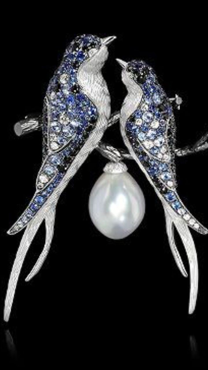 Mousson Atelier - Eden Collection - Lovebirds Brooch - White Gold, Pearl 11,98 ct., Diamonds, Black Sapphire, Sapphires. ID: Brs0228-0/5 •10,580 USD