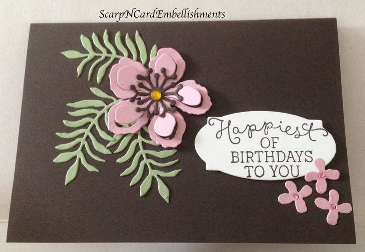 Stampin' Up Products...Botanical Dies, Rose Wonder Stamps & Dies, Chocolate Chip, Pink Pirouette & Old Olive Card stock...Made by Louise