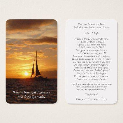 Memorial Funeral Prayer Card   Hawaiian Sunset - thank you gifts ideas diy thankyou