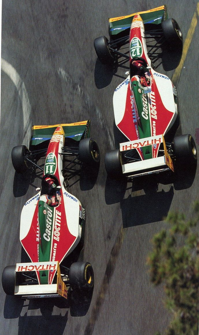 "Alessandro ""Alex"" Zanardi (ITA) (Team Lotus), Lotus 107B - Ford HBD6 3.5 V8 (finished 7th) John Paul ""Johnny"" Herbert (GBR) (Team Lotus), Lotus 107B - Ford HBD6 3.5 V8 (RET) 1993 Monaco Grand Prix, Circuit de Monaco"