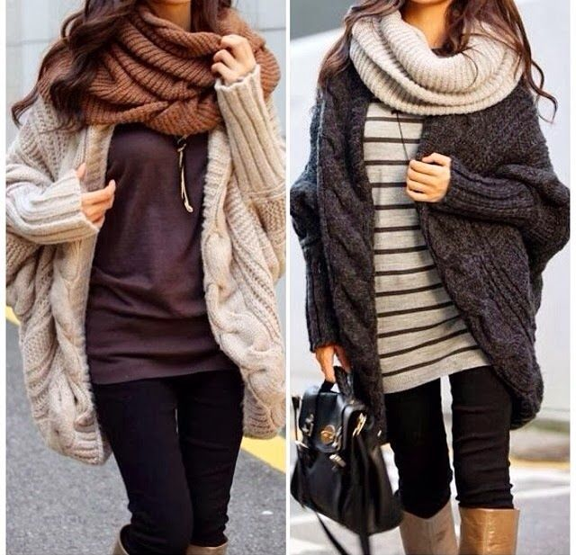 Fashionable Beige and Gray Oversized Shapeless Cardigans with Brown and Beige Circle Scarves, T-shirts, Black Jeans and Bag, Love this Style