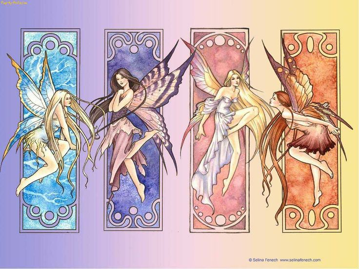 Stained glass style fairies