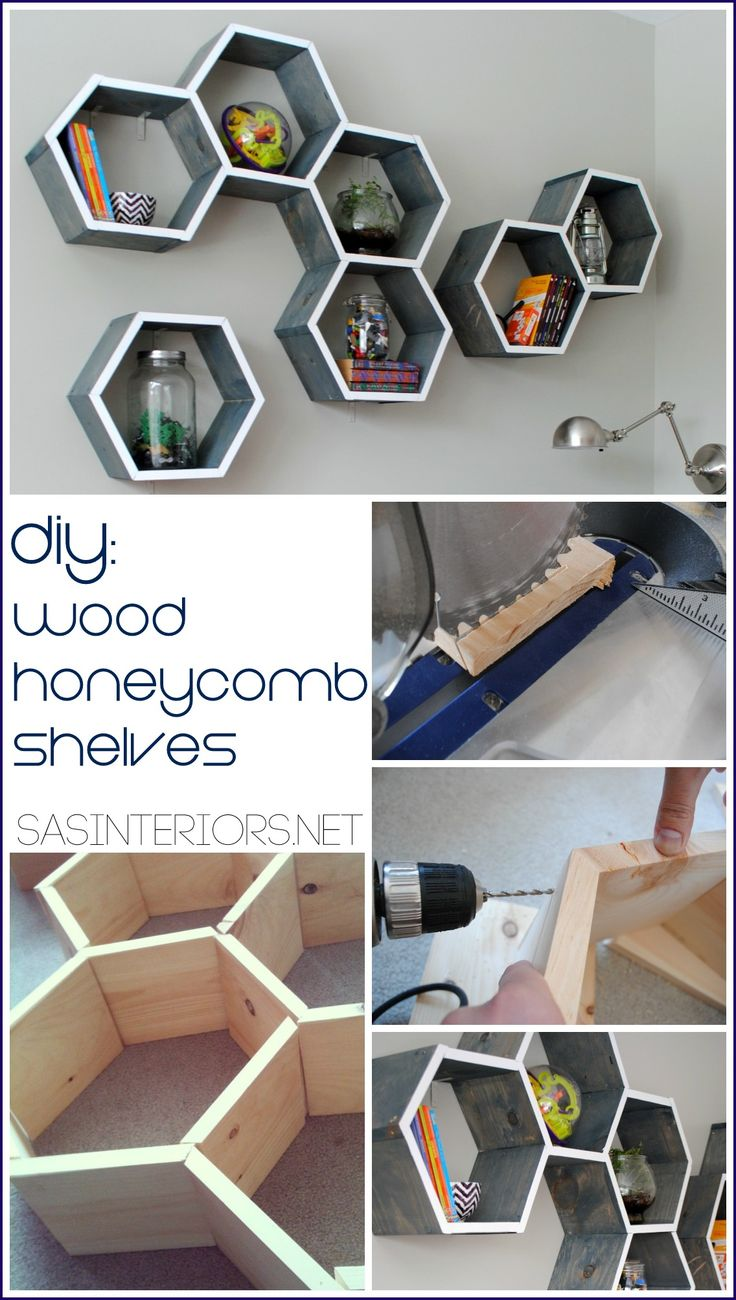 How-To Make Wood Honeycomb Shelves. Why spend hundreds, when you can make them yourself! These shelves complete the look of the room. So many great projects in this kids room makeover. - Kids Room Ideas