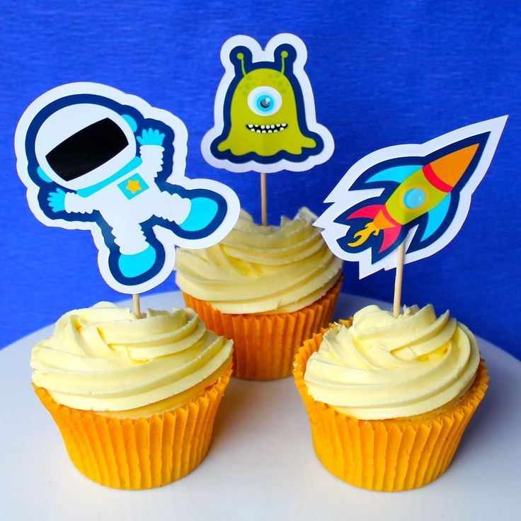 Space Cupcake Toppers - 6 Pack
