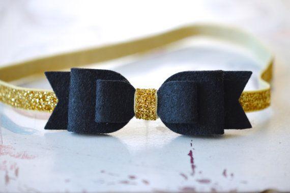 Black Felt Bow on Gold Glitter Elastic  Headband Felt Bow Headband - baby to adult headband