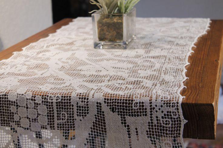 White Table Runner, Table Runner, Table Covering by ClockworkRummage on Etsy