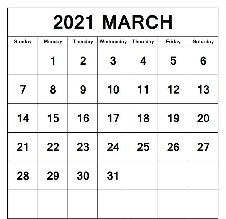 March 2021 Calendar PDF, Excel, Word Templates in 2020 ...
