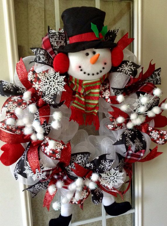 Christmas snowman wreath white deco mesh Snowman by TheCornerPaper