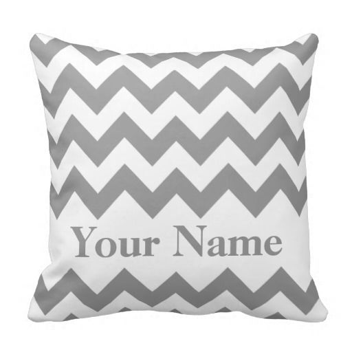 Gray Bold Chevron with monogram Pillow
