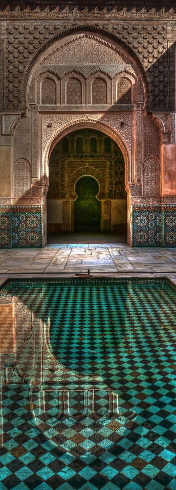 Medersa Ben Youssef, Marrakech Koranschule Address: Kaat Benahid, Marrakech 40000, Morocco Phone: 212 524 44 1893 Hours: 9AM – 6PM Daily Entrance Fee: 50 Dh