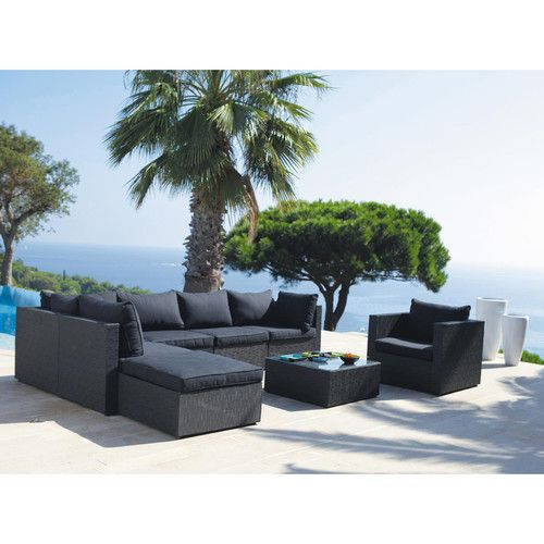 Esquina de sofá de jardín de tela antracita