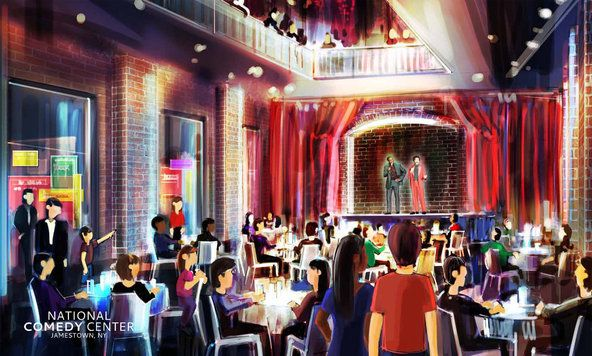 A rendering of a comedy club at the National Comedy Center in Jamestown, N.Y., that will feature holograms of stand-ups and comic actors from various eras.