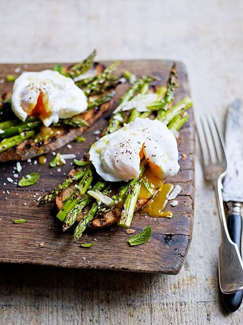 Asparagus poached egg on toast