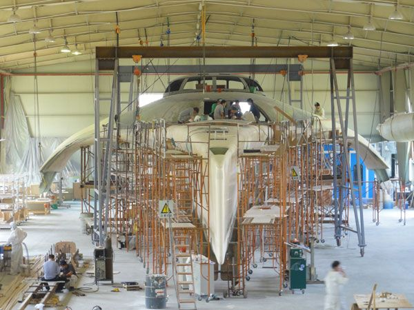 A yacht with a space ship as its design being built in China.