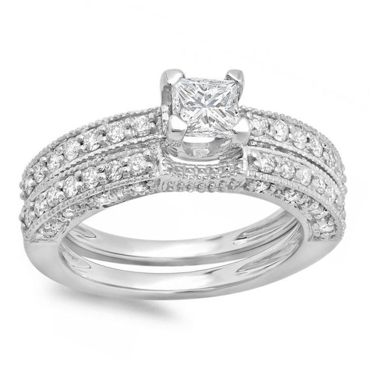 2CT Princess D/VVS1 Diamond Engagement Rings 14k Solid White Gold Bridal Jewelry #Engagement