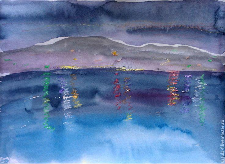 Купить Акварель Ночные огни. Картина акварелью. - темно-синий, акварель, акварельная картина