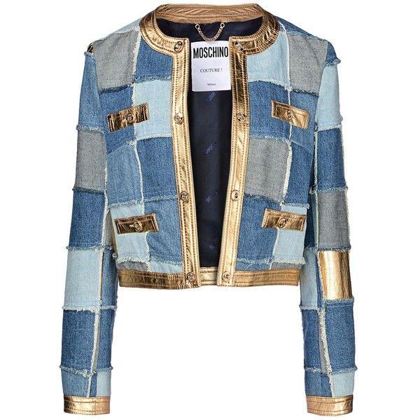 Moschino Blazer ($1,798) ❤ liked on Polyvore featuring outerwear, jackets, blazers, coats, denim, blue, logo jackets, 3 button blazer, blue jackets and multi pocket jacket