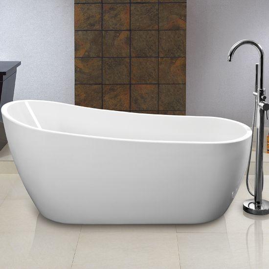 Frittstående design badekar m/pushup ventil