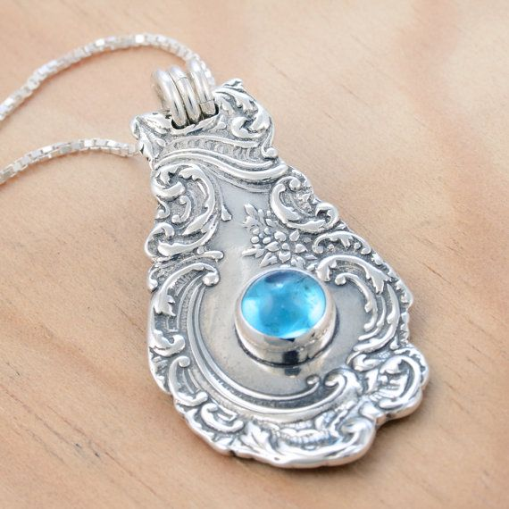 Spoon Pendant with Blue Topaz  Handmade Upcycled by metalsmitten