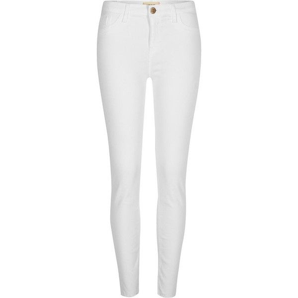 River Island White Amelie super skinny jeans ($80) ❤ liked on Polyvore featuring jeans, skinny jeans, white, women, frayed hem jeans, button-fly jeans, white super skinny jeans and zipper jeans