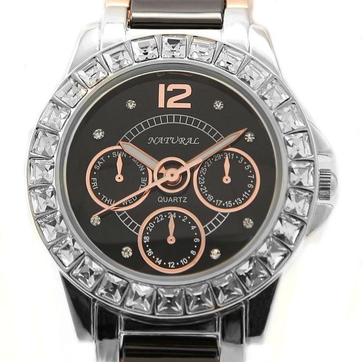 FW830N PNP Shiny Silver cassa dell'orologio quadrante nero delle signore delle donne del braccialetto di vigilanza di ceramica