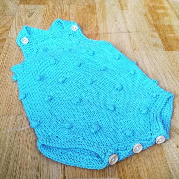 Popcorn romper knitted baby