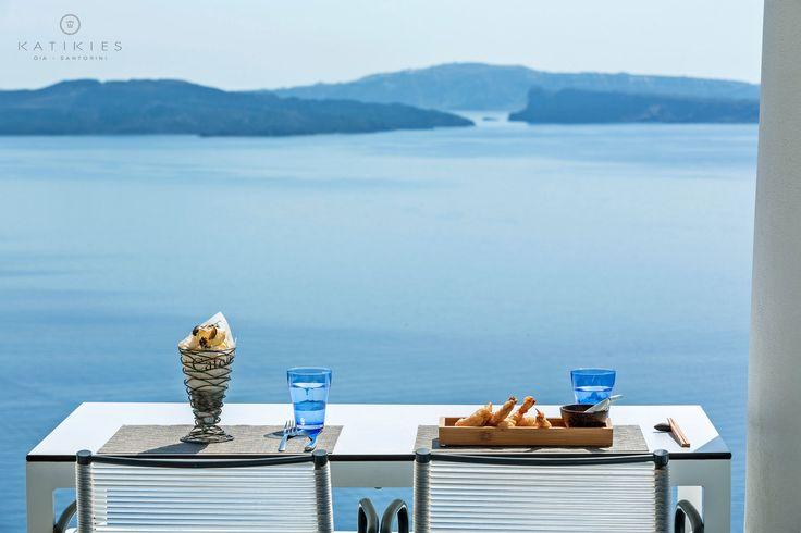 Katikies Hotel   Lunch, snacks, blue dazzling Aegean sea, Volcano view, Santorini, Greece