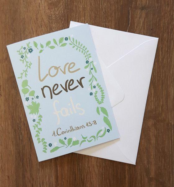 """Hochzeit - """"Love never fails"""" Klappkarte mit Briefumschlag - ein Designerstück…"""