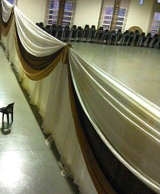 Draping dividing the hall into 2