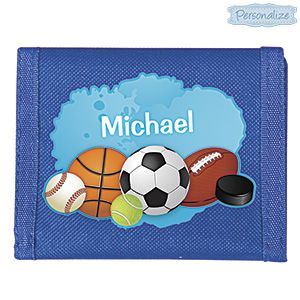 Product # DMM23358 - Holds lunch money, gift cards, your savings and more! Rugged nylon velcro tri-fold wallet has 2 slots for cards, a zippered pouch and a full size bill compartment. Specially personalized so kids always know which one is theirs. Personalization: Name, up to 10 characters.  $12.98