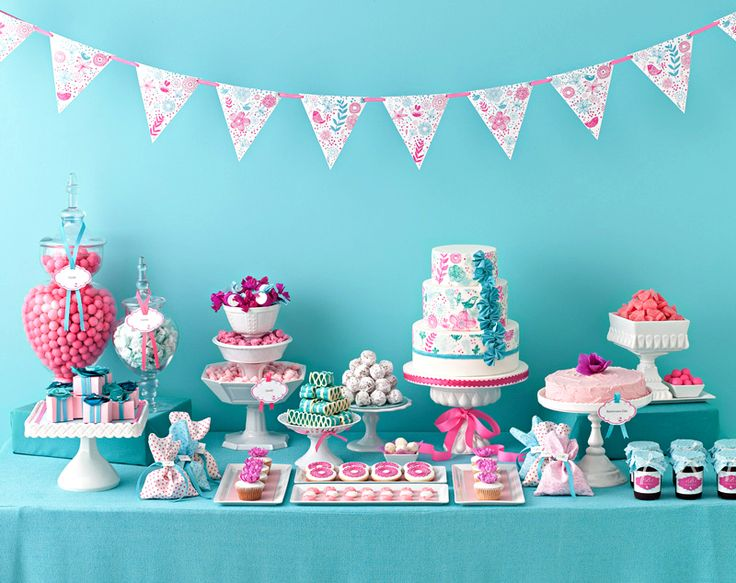 Teal and Pink Dessert Table