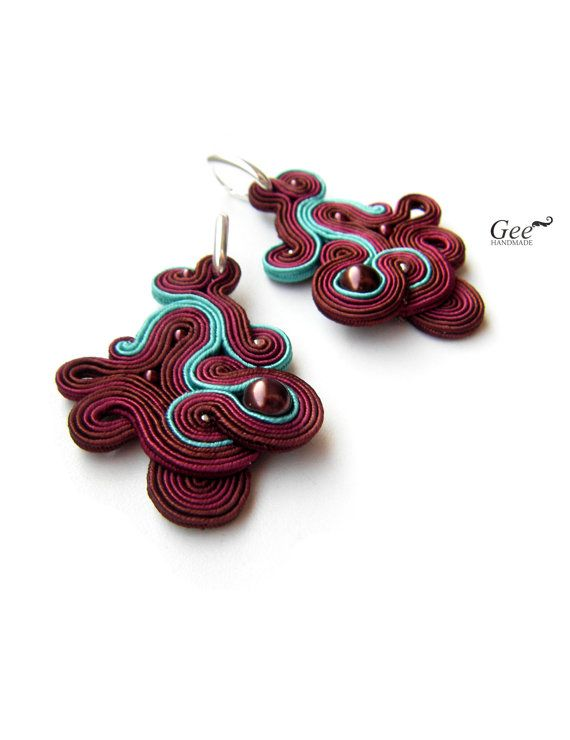 Soutache earrings Cherry. Autumn collection. FREE by geehandmade, $90.00