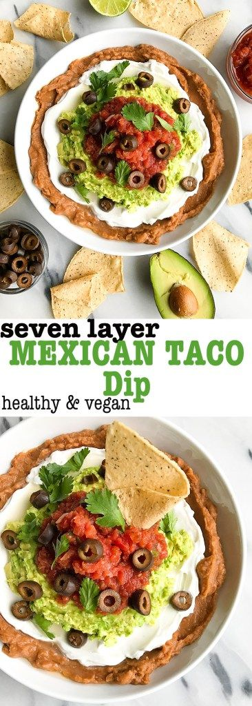 Lightened-up Seven Layer Mexican Taco Dip made with 7 simple ingredients for a #vegan and gluten-free taco dip. Perfect with your favorite chips!