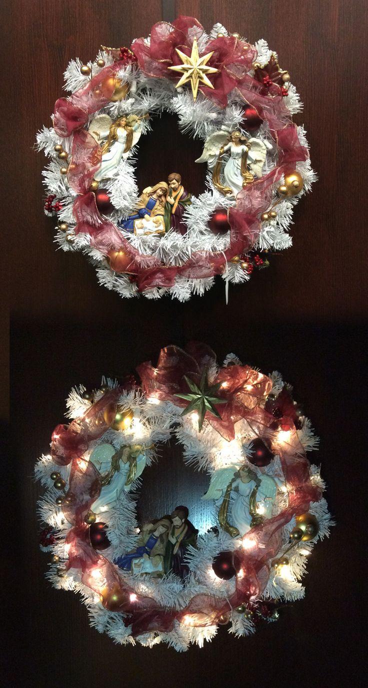 Thomas kinkade o holy night christmas stocking - Thomas Kinkade Christmas Nativity Wreath Decorated With Angels Real Fabric Ribbon Golden Foil