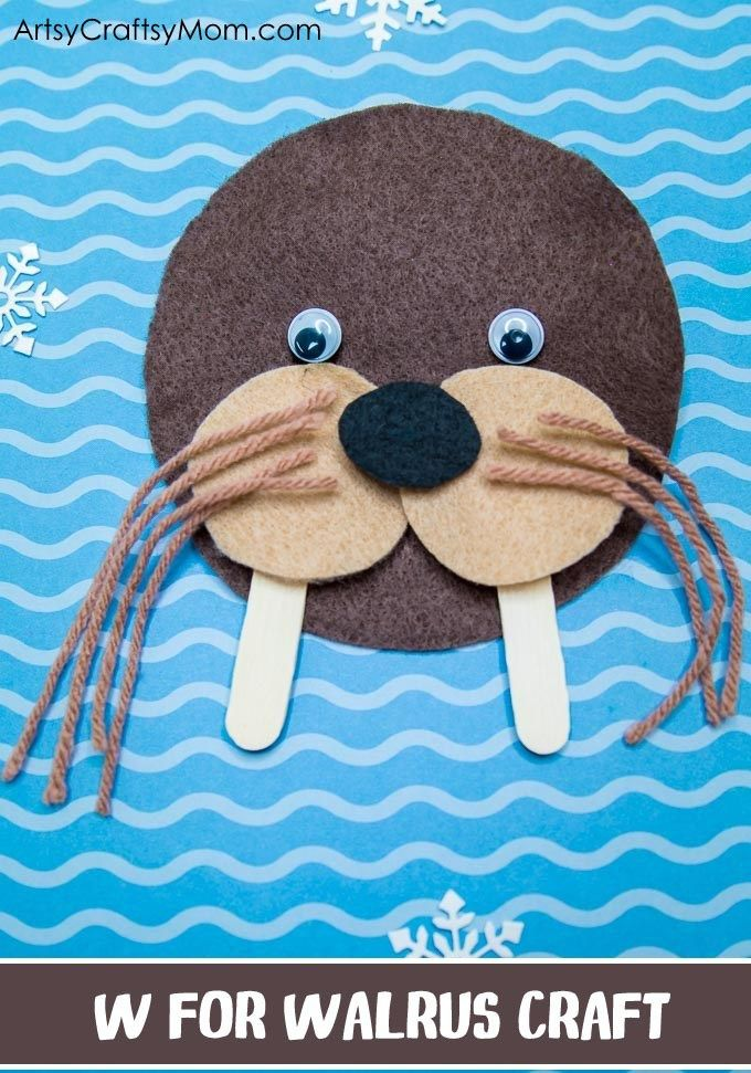 W for Walrus Craft with a Printable Template This craft is from the eBook – A to Z Alphabet Animal Crafts for Kids by @artsycraftsymom. Perfect for Letteroftheweek activity, alphabet craft, classroom decor, a birthday party or as animal crafts. Click to download the printable template to make your own.