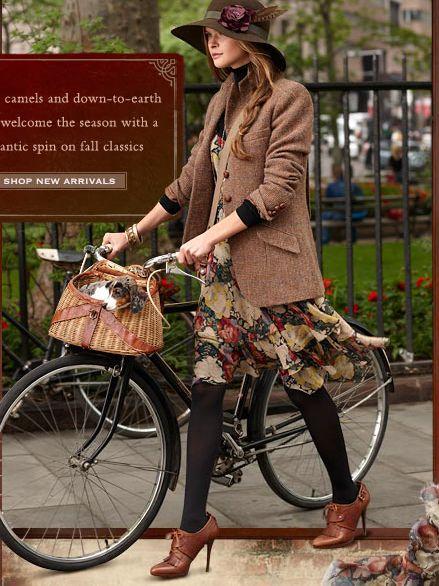 boyish blazer. flouncy skirt. basket on the bike.