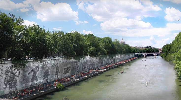 """William Kentridge, """"Triumphs and Laments: A Project for the City of Rome"""" (proposal), Piazza Tevere, Rome, Italy. Rendering: Andrea Biagioni and Pippo Marino (2014)"""