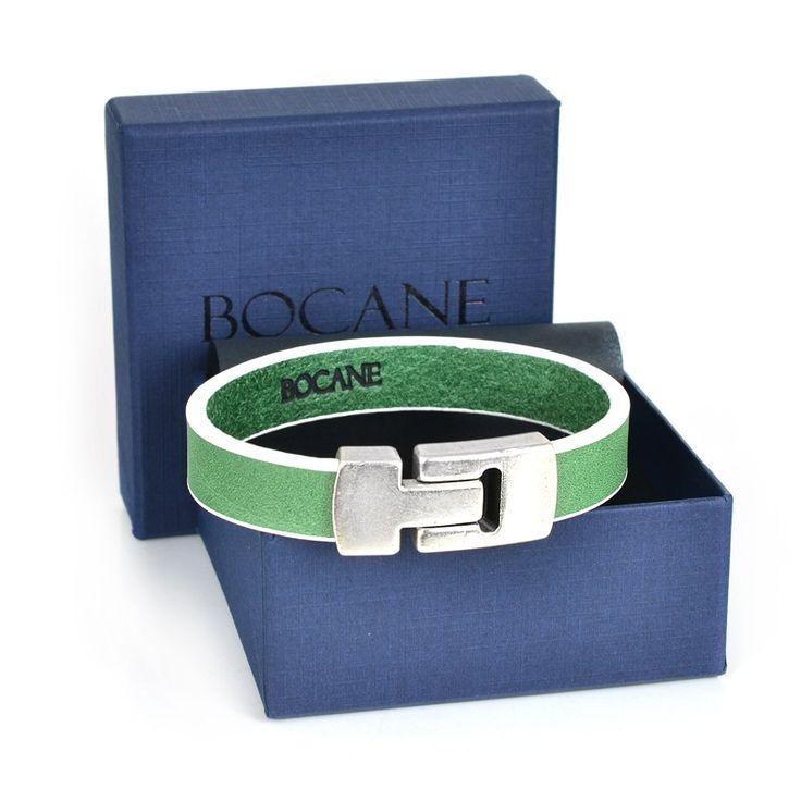 Bratara Bocane din Piele Italiana, Verde cu Accente Albe - Bocane