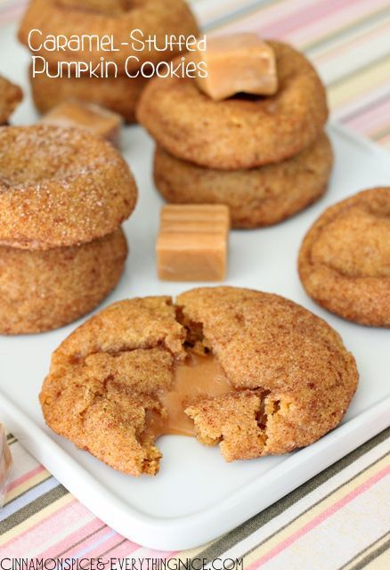Caramel Stuffed Pumpkin Cookies.