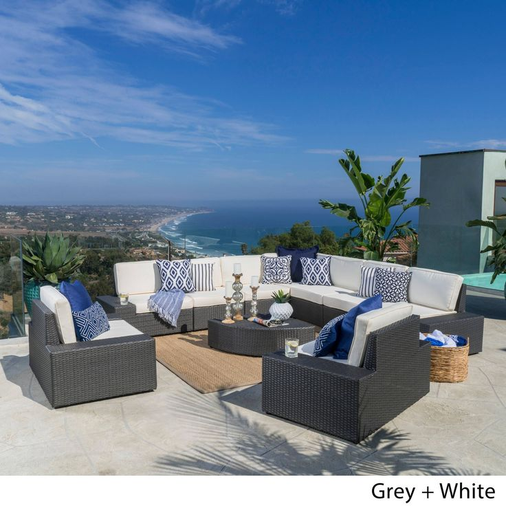 Santa Cruz Outdoor 10 Piece Wicker Sectional Sofa Set With Cushions By  Christopher Knight Home (Dark Brown With Beige), Size 10 Piece Sets, Patio  Furniture ...