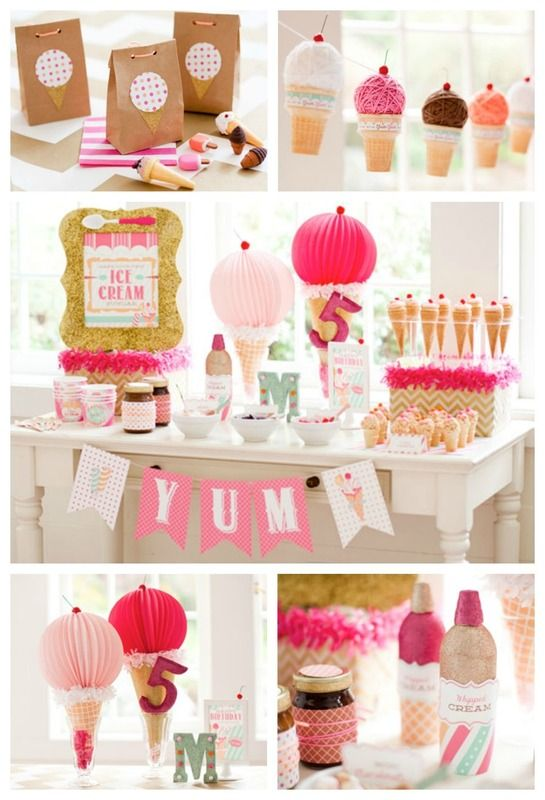 Great summer party themes for kids: Ice Cream Party with DIY tips and printables from HWTM