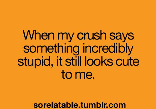 When my crush says something incredibly stupid, it still looks cute to me