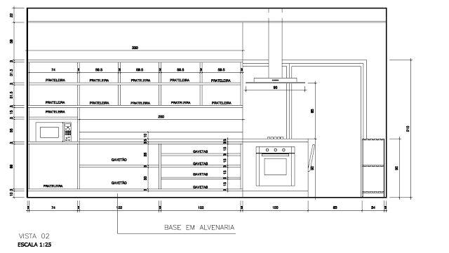 #474267 Pia De Cozinha Corte Dwg Idéias do Projeto  640x361 px Armario De Cozinha Em Dwg #2985 imagens